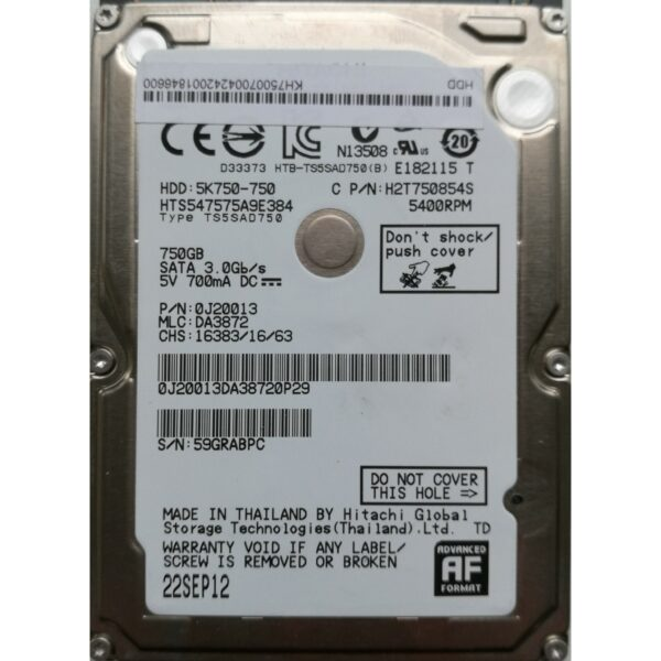 Hitachi 2.5 Harddisk 750GB 9,5mm