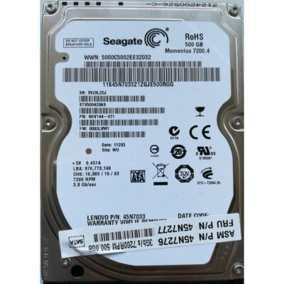 Seagate 2.5 Harddisk 500GB 7200 9,5mm