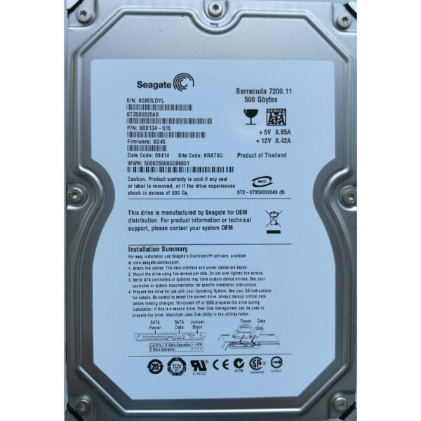 "Seagate Barracuda 3.5"" Harddisk 500GB"