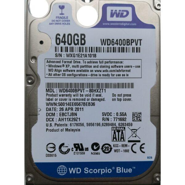 """WD 2.5"""" Harddisk 640GB 9,5mm"""