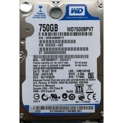 """WD 2.5"""" Harddisk 750GB 9,5mm"""